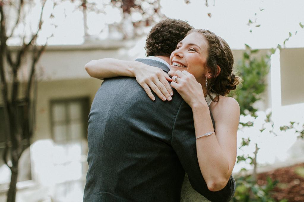 wedding Malibou Mountain Club hug